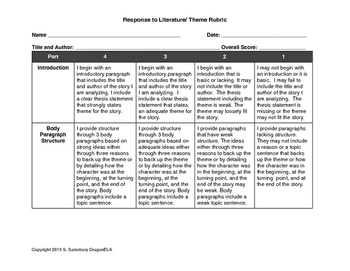 Rubric for Response to Literature involving Theme