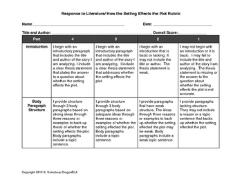 Rubric for Response to Literature- How the Setting Effects the Plot