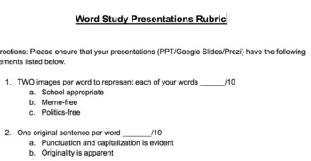 Rubric for Vocabulary and Word Study Presentations