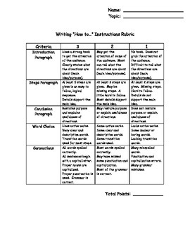 """Rubric for Writing """"How to..."""" Instructions"""