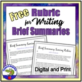 FREE Rubric for Writing a Brief Summary