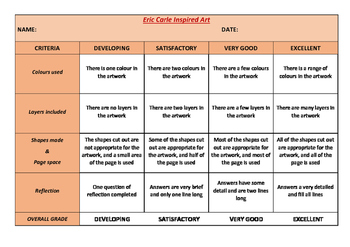 Rubric for an Eric Carle Inspired Project
