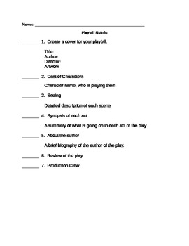 Rubric for writing your own playbill