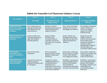 Rubric to Evaluate Counselor- Led Classroom Guidance Lessons