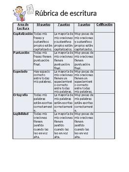 Rubrica de Escritura ***Spanish ***Dual Language