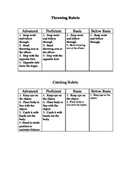 Throwing and Catching Rubrics