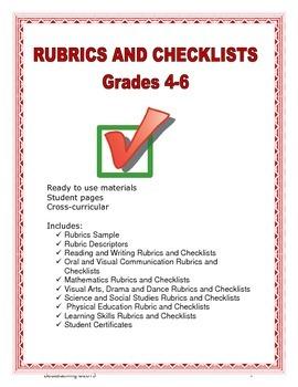 Rubrics & Checklist Grades 4-6