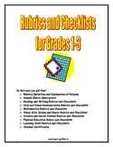 Rubrics and Checklists for Grades 1-3