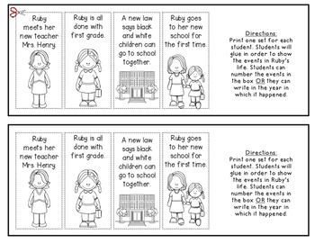 Ruby Bridges {Timeline} for Kindergarten and First Grade Social Studies