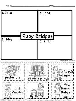 Ruby Bridges 4 Square Writing & Take Home Book