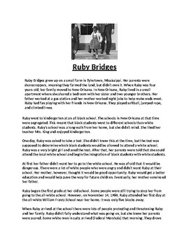 Ruby Bridges Biography Article and Assignment Worksheet