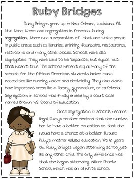 Ruby Bridges Biography & Reflection Page