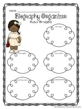 Ruby Bridges Biography Report Organizers ~ Black History Month