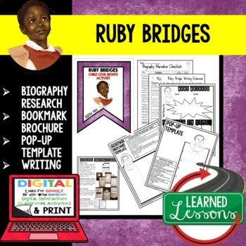 Ruby Bridges Biography Research, Bookmark Brochure, Pop-Up, Writing