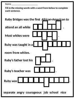 Black History Hero Ruby Bridges Biography and Fun Activities
