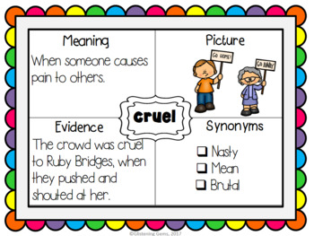 Ruby Bridges - Character Trait Word Maps, Graphic Organizers