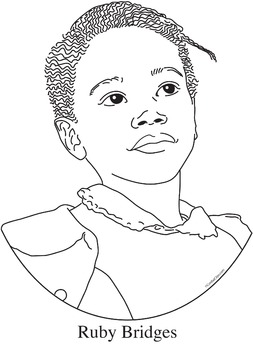 Ruby Bridges Realistic Clip Art, Coloring Page and Poster