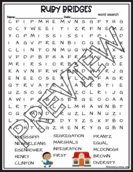Ruby Bridges Activities Crossword Puzzle and Word Search Find