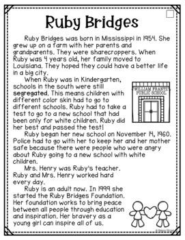 Ruby Bridges Differentiated Comprehension Passages