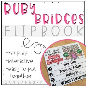 Ruby Bridges Flip Book (NO PREP) PLUS Colored Poster & Student Coloring Page
