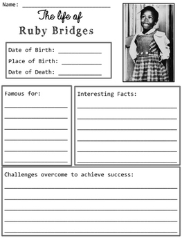 Ruby Bridges Graphic Organizers