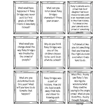 The Story of Ruby Bridges Higher Level Thinking Task Cards