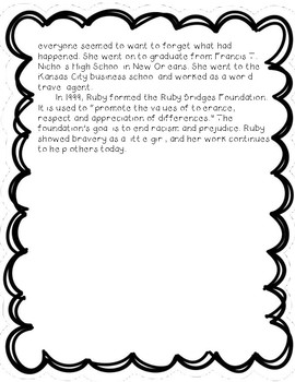 Ruby Bridges - Reading Comprehension Biography and Questions
