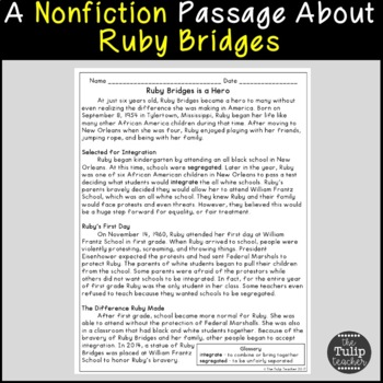 Ruby Bridges Reading Comprehension Paired Passages By The