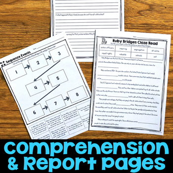 Ruby Bridges Reading Passage, Biography Report, & Comprehension Activities