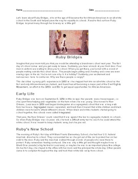 Ruby Bridges Text - Translated into Spanish, Haitian Cr, Bangla, Punjabi, Arabic