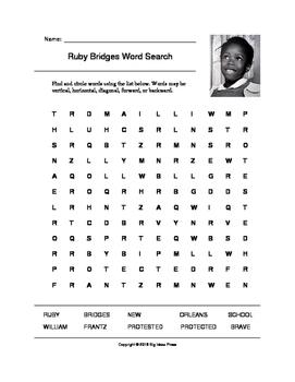 Ruby Bridges Word Search (Grades 3-5)
