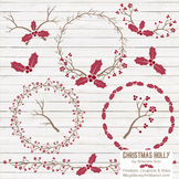 Ruby Christmas Holly Clipart