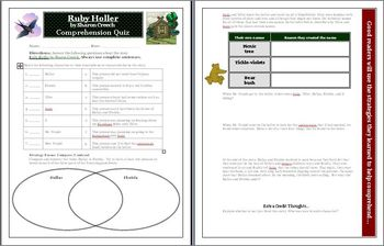Ruby Holler by Sharon Creech comprehension QUIZ