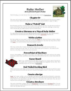 Ruby Holler Novel Project Activities