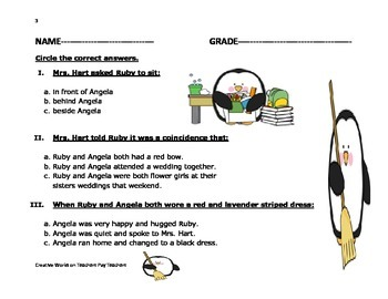 Ruby the Copy Cat - Reading Comprehension Quiz+ Vocabulary Sheet+more
