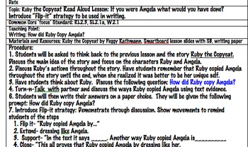 Ruby the Copy Cat Written Lesson Plans