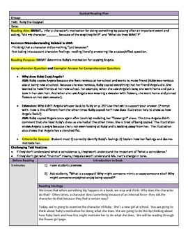 Ruby the Copycat Guided Reading Plan