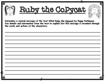 Ruby the Copycat by Peggy Rathmann Writing Tasks