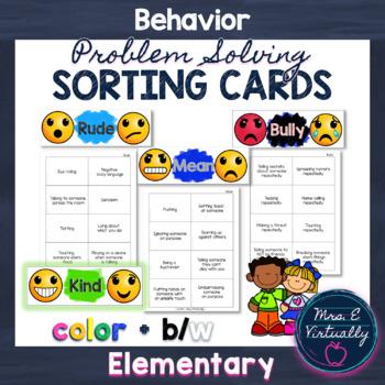 Rude, Mean, Bully Behavior Sorting Game Cards + Kind