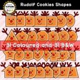 Rudolf Cookie Shapes (2D) Christmas Clip Art