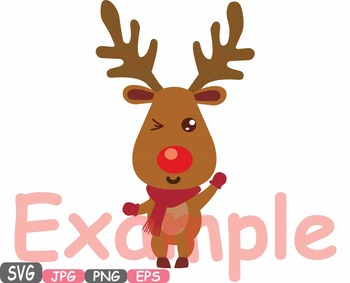 Rudolf Merry Christmas reindeer Deer clipart santa Red Nose deer holiday -493s