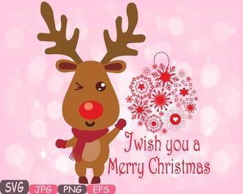 Rudolf Merry Christmas reindeer Deer clipart santa Red Nos