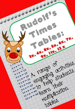 Christmas math activities for 3x to 12x: Rudolf's Times Tables. NEW FOR '17