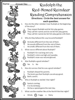 Christmas Reading Activities: Rudolph the Red-Nosed Reindeer Activity Packet