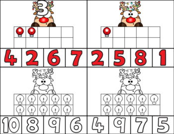 Rudolph Clip Cards/Number Recognition