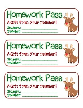 """""""Rudolph"""" Homework Pass –Holiday FUN! (full color version)"""