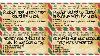 Rudolph Multiple Meaning Words Task Cards