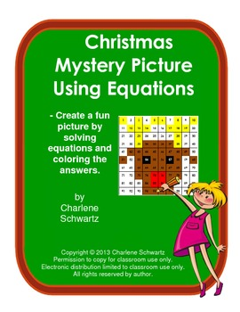 December Rudolph Mystery Picture Using Equations