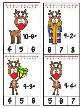 Rudolph Number Line Subtraction Clip Cards