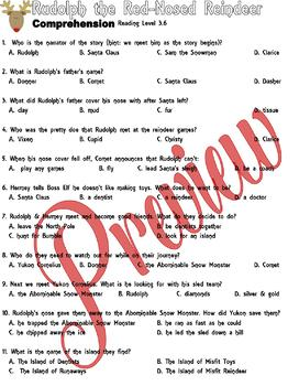 Rudolph Red-Nosed Reindeer Comprehension MULTIPLE CHOICE Worksheets
